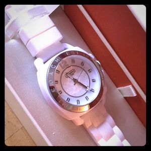NWT Coach White Boyfriend Silicone Quartz Watch